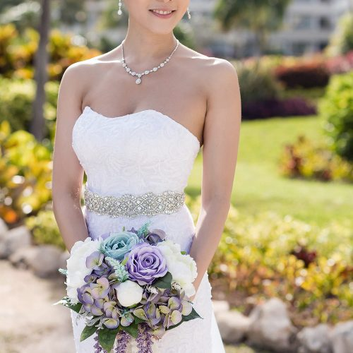 Portrait of bride before her Cancun wedding