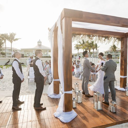 Wedding ceremony on beach at Moon Palace Cancun Resort