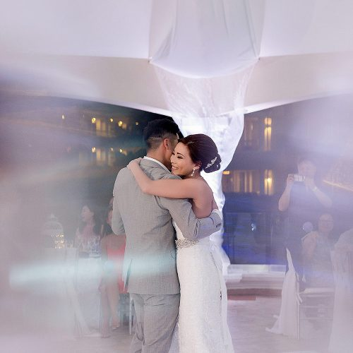 Close up of bride and grooms first dance at wedding