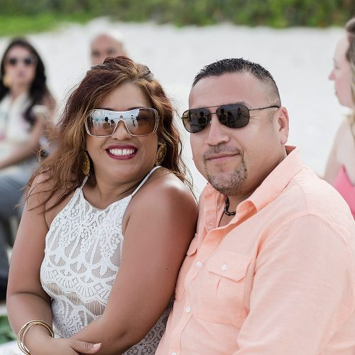 Guests before wedding on beach in Cancun