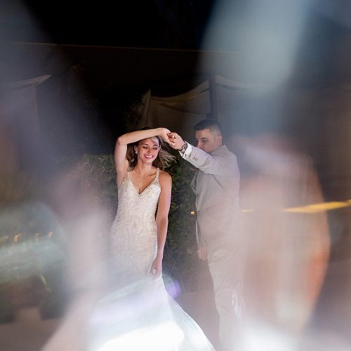 Bride and grooms first dance at Secrets on the Vine in Cancun