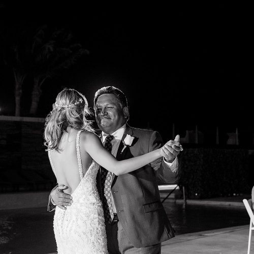 Bride dancing with her father at Secrets on the Vine in Cancun