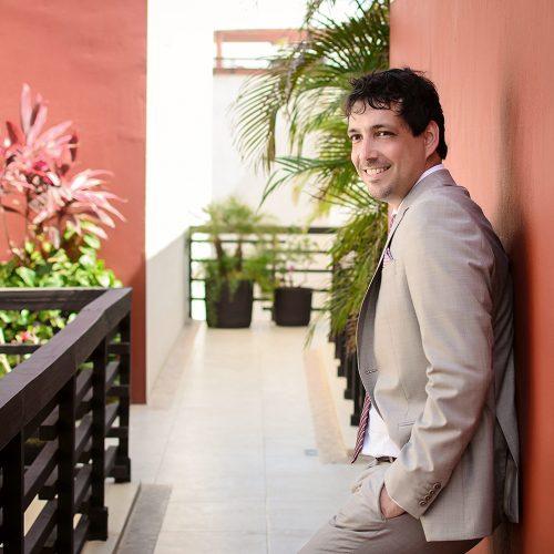 Portrait of groom at wedding in Riviera Maya