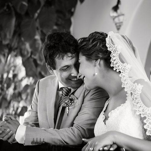 Bride and groom at wedding ceremony in Riviera Maya