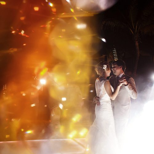 Bride and grooms first dance at wedding in Riviera Maya