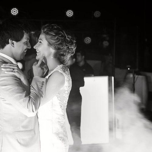 Bride and groom dancing on dance floor at wedding in Riviera Maya