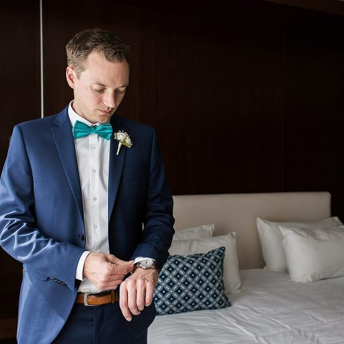 Groom getting ready before wedding