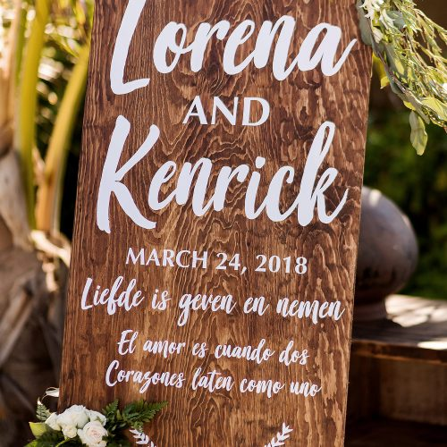 Lorena and Kenrick's wedding sign.