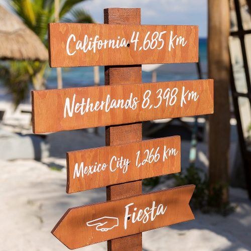 Sign to Netherlands and Mexico city on beach