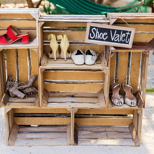 Shoe caddy at beach wedding at Punta Venado, Riviera Maya Mexico