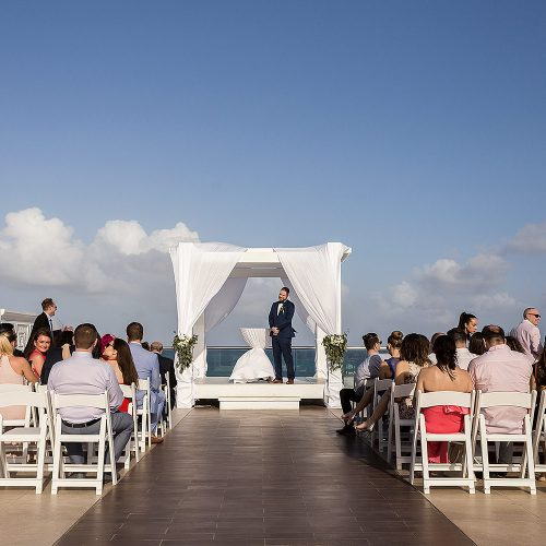 Wedding ceremony location on sky deck at Azul Fives Riviera Maya