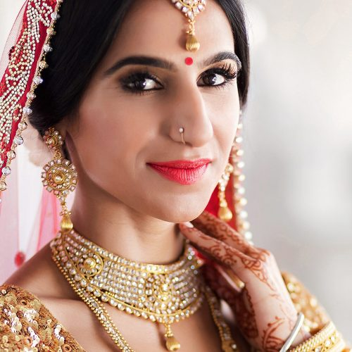 Portrait of Indian bride at wedding in Cancun
