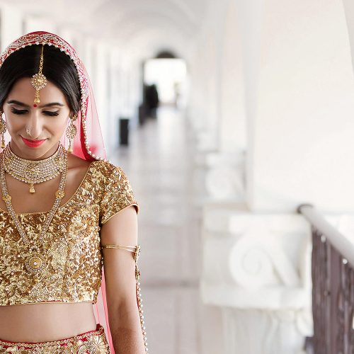 Indian bride in hallway before wedding ceremony in Cancun