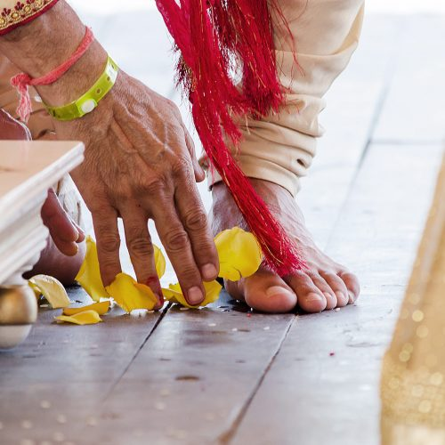 Close up of the grooms feet during Indian Wedding ceremony