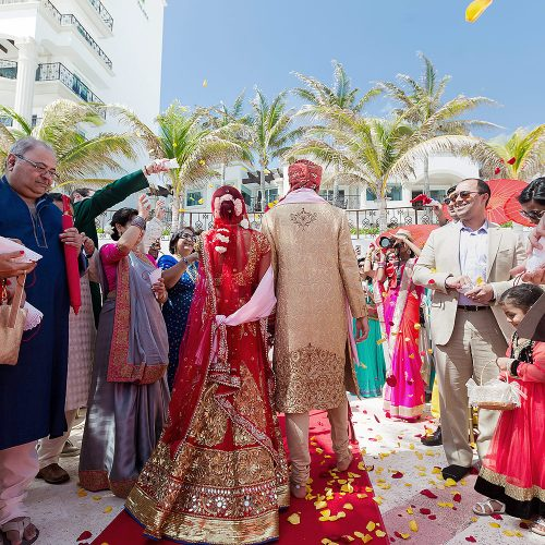 Bride and groom after Indian wedding ceremony in Cancun