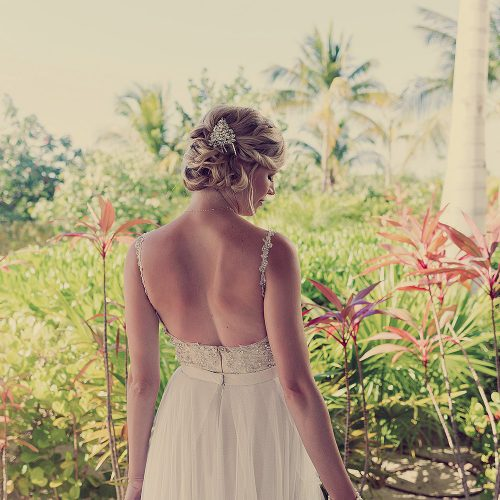 Back of bride at wedding