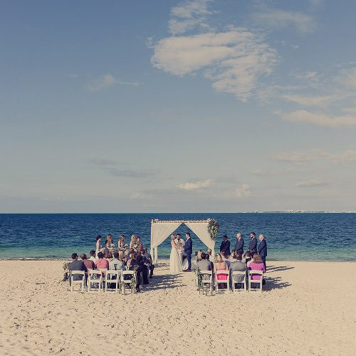 Beach wedding ceremony location at Finest Playa Mujeres resort