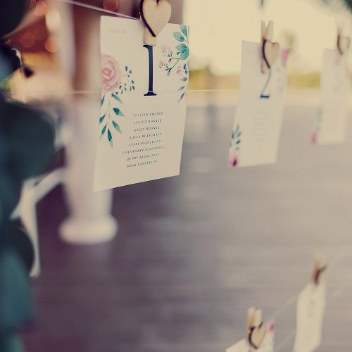 Escort cards at Finest Playa Mujeres wedding