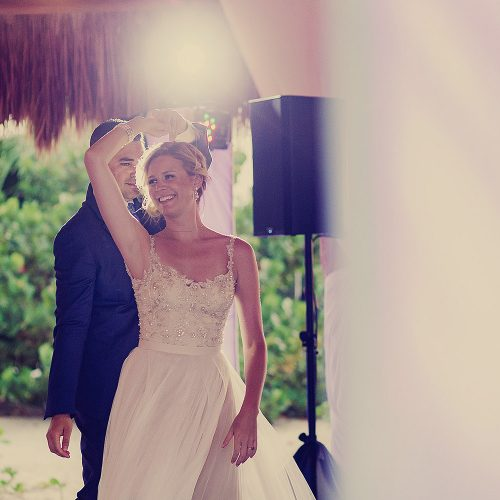 Bride and grooms first dance at Finest Playa Mujeres palapa