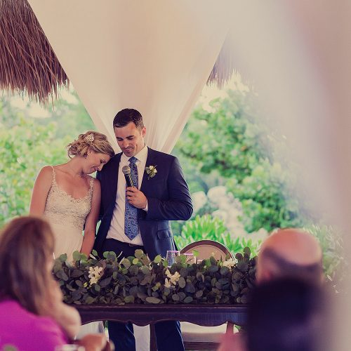 Bride and groom's speech under palapa at Finest Playa Mujeres