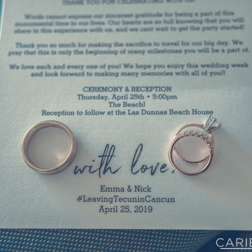 Close up of rings on invitation