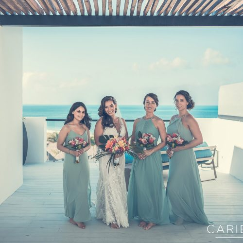 Portrait of bridesmaids at Finest Playa Mujeres, Cancun Mexico