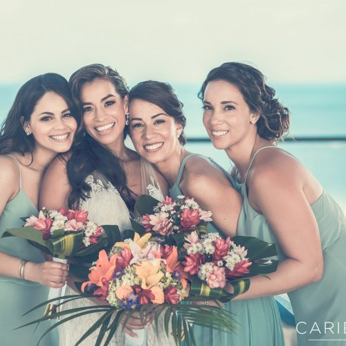 Fun portrait of bridesmaids at Finest Playa Mujeres, Cancun Mexico