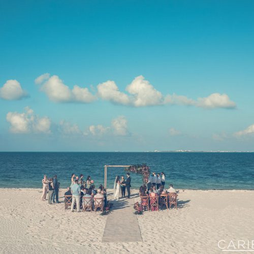 Beach wedding ceremony at The Finest Playa Mujeres resort