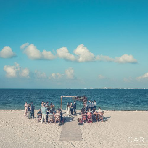 Wedding ceremony location at on the beach at Finest Playa Mujeres, Cancun Mexico