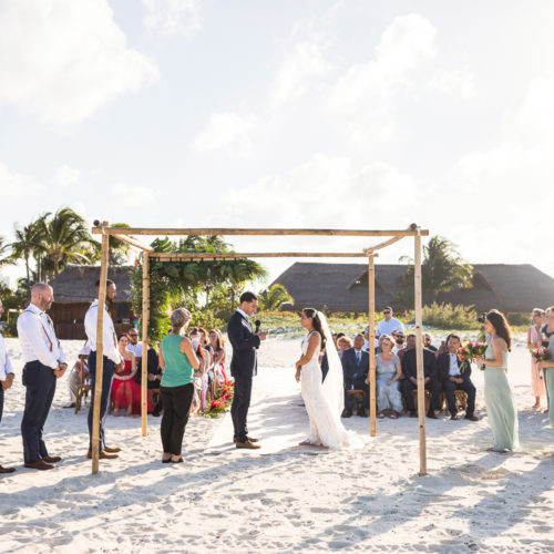 Beach wedding ceremony at Finest Playa Mujeres