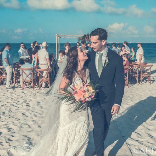 Bride and groom after wedding ceremony at The Finest Playa Mujeres resort