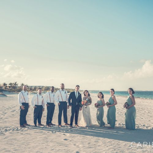 Bridal party on beach after wedding at Finest Playa Mujeres, Cancun Mexico