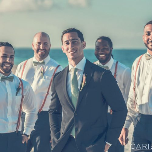 Groomsmen on beach at The Finest Playa Mujeres resort