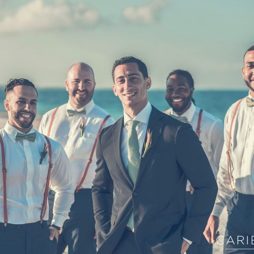 Groom and groomsmen portrait on beach at Finest Playa Mujeres, Cancun Mexico