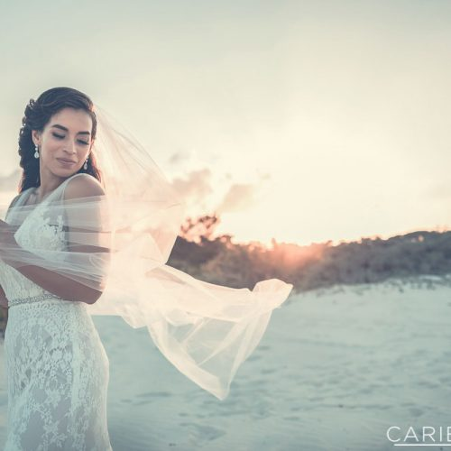 Portait of bride on beach at The Finest Playa Mujeres resort