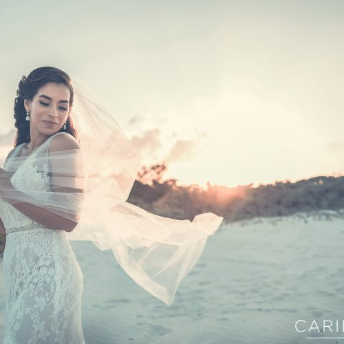 Bride playing with veil in the wind.