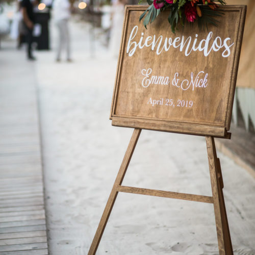 Entrance sign to wedding reception.