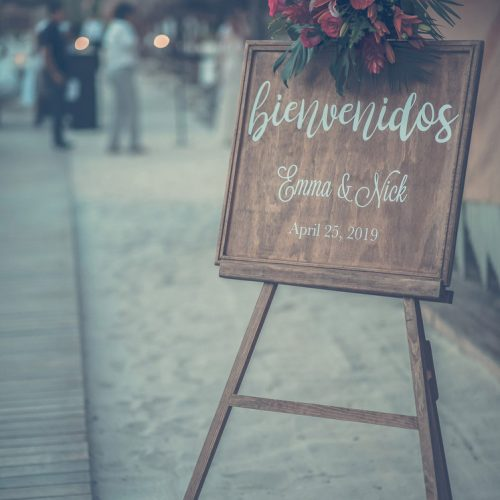 Welcome sign at wedding reception at Finest Playa Mujeres, Cancun Mexico