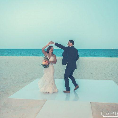 Bride and groom on dance floor.