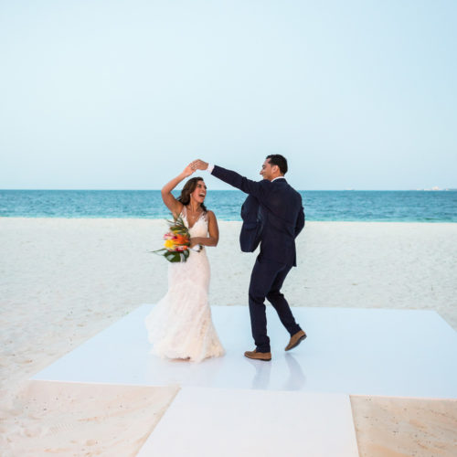 Bride and grooms entrance to wedding reception at Finest Playa Mujeres