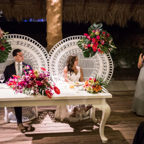 Bride and groom at wedding reception at Finest Playa Mujeres