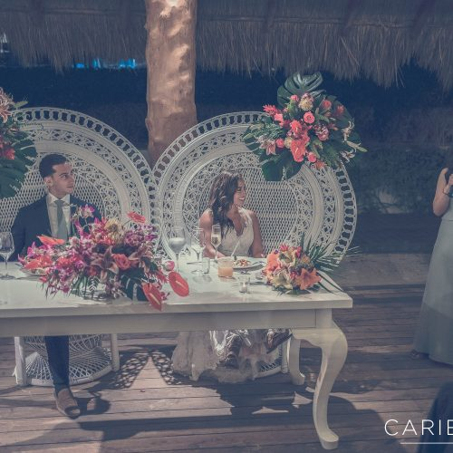 Bride and groom at wedding reception at Finest Playa Mujeres, Cancun Mexico