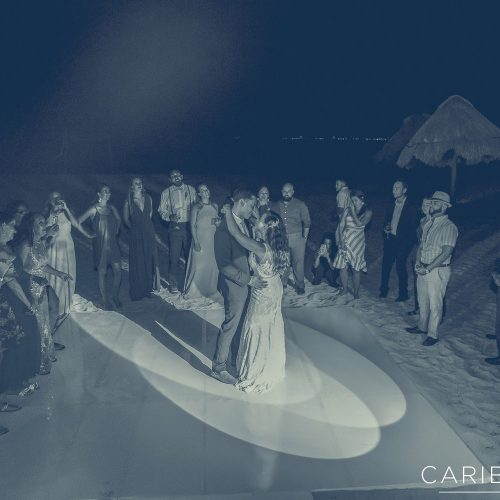 Bride and grooms first dance at wedding reception at Finest Playa Mujeres, Cancun Mexico