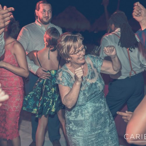 Guests dancing at wedding reception at Finest Playa Mujeres, Cancun Mexico
