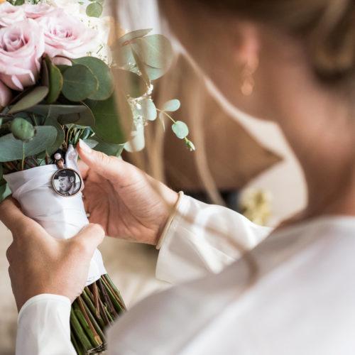 Close up of brides bouquet.