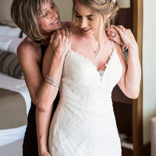 Bride and mother before wedding.