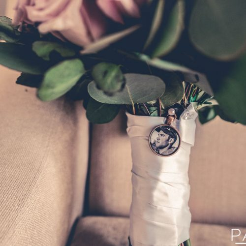 Detail of brides bouquet.