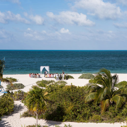 Ceremony location on beach at Secrets Playa Mujeres resort