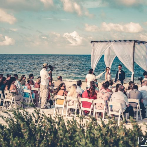Beach wedding ceremony at Secrets Playa Mujeres in Cancun Mexico