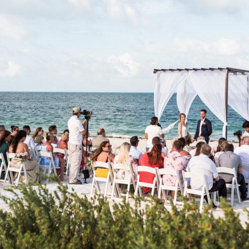 Wedding ceremony on beach at Secrets Playa Mujeres resort
